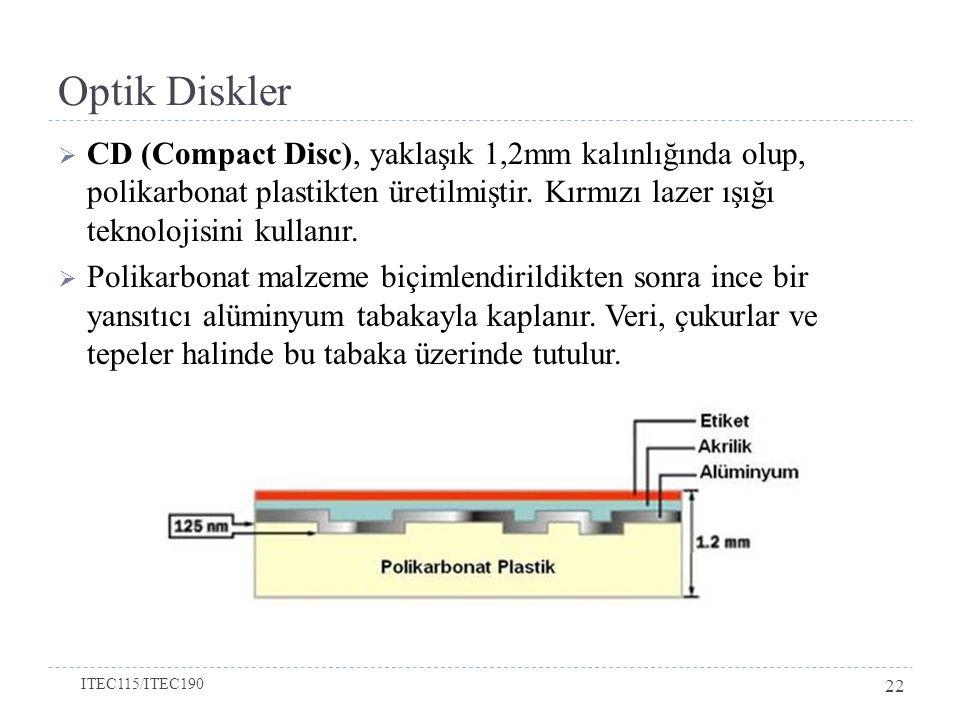 Optik Diskler  CD (Compact Disc), yaklaşık 1,2mm kalınlığında olup, polikarbonat plastikten üretilmiştir.