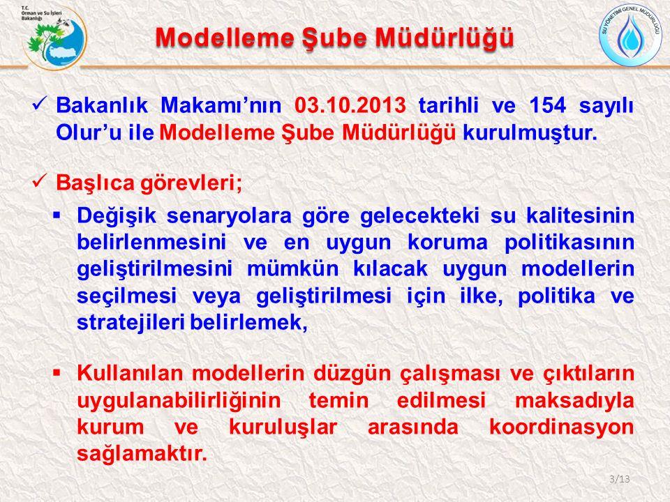Modelleme Şube Müdürlüğü Bakanlık Makamı'nın 03.10.2013 tarihli ve 154 sayılı Olur'u ile Modelleme Şube Müdürlüğü kurulmuştur.