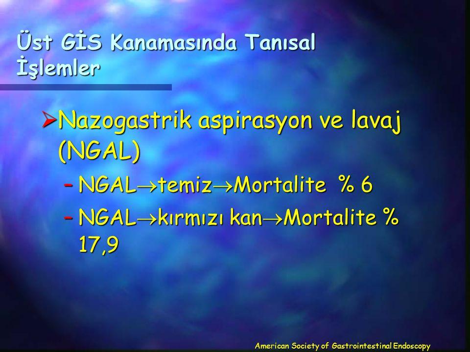 Üst GİS Kanamasında Tanısal İşlemler  Nazogastrik aspirasyon ve lavaj (NGAL) –NGAL  temiz  Mortalite % 6 –NGAL  kırmızı kan  Mortalite % 17,9 American Society of Gastrointestinal Endoscopy