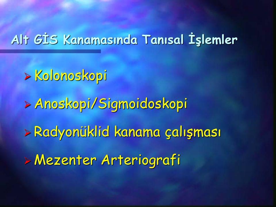 Alt GİS Kanamasında Tanısal İşlemler  Kolonoskopi  Anoskopi/Sigmoidoskopi  Radyonüklid kanama çalışması  Mezenter Arteriografi