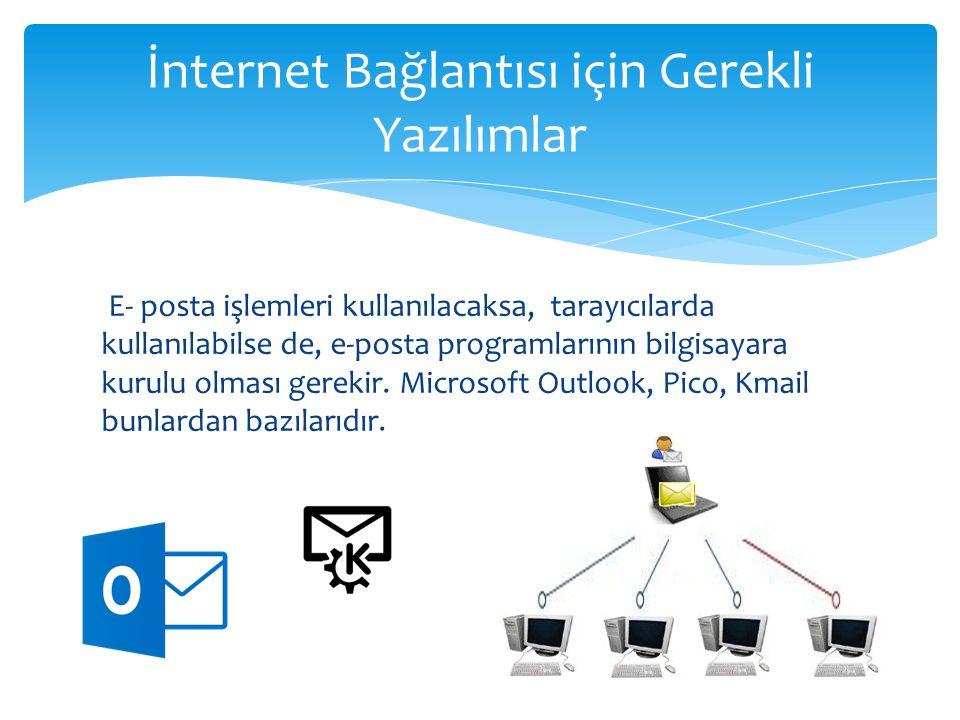 E- posta işlemleri kullanılacaksa, tarayıcılarda kullanılabilse de, e-posta programlarının bilgisayara kurulu olması gerekir. Microsoft Outlook, Pico,