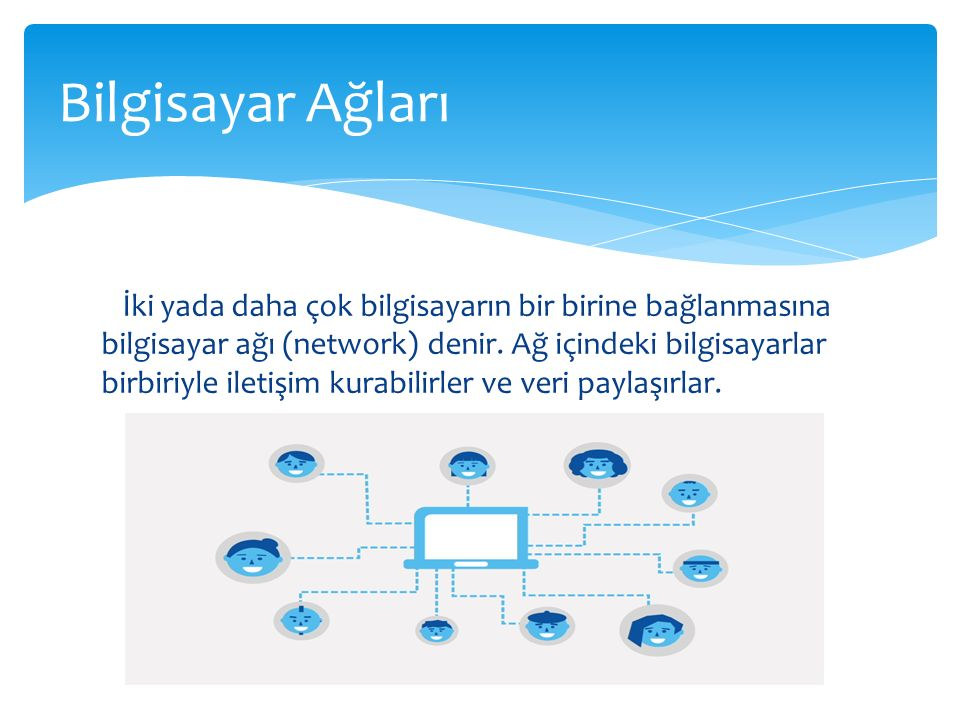 İki yada daha çok bilgisayarın bir birine bağlanmasına bilgisayar ağı (network) denir. Ağ içindeki bilgisayarlar birbiriyle iletişim kurabilirler ve v