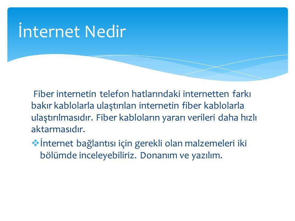 Fiber internetin telefon hatlarındaki internetten farkı bakır kablolarla ulaştırılan internetin fiber kablolarla ulaştırılmasıdır. Fiber kabloların ya