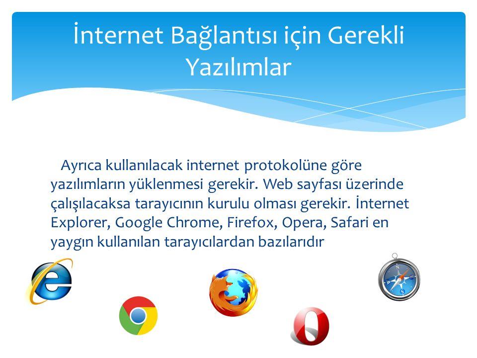 Ayrıca kullanılacak internet protokolüne göre yazılımların yüklenmesi gerekir. Web sayfası üzerinde çalışılacaksa tarayıcının kurulu olması gerekir. İ