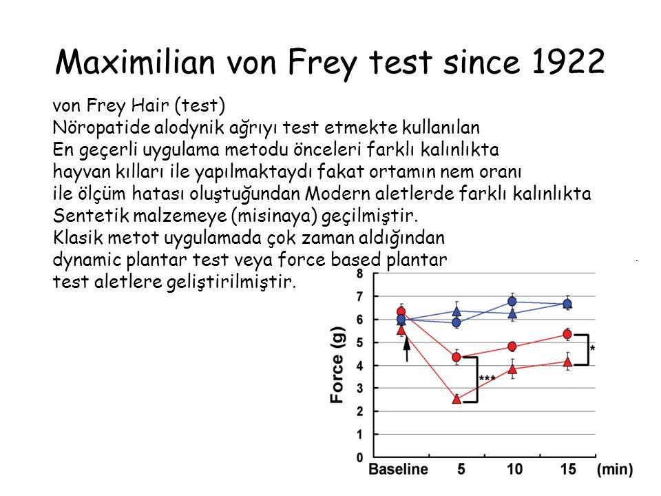 Maximilian von Frey test since 1922 von Frey Hair (test) Nöropatide alodynik ağrıyı test etmekte kullanılan En geçerli uygulama metodu önceleri farklı