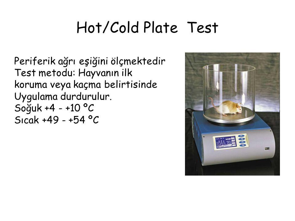 Hot/Cold Plate Test Periferik ağrı eşiğini ölçmektedir Test metodu: Hayvanın ilk koruma veya kaçma belirtisinde Uygulama durdurulur. Soğuk +4 - +10 ºC