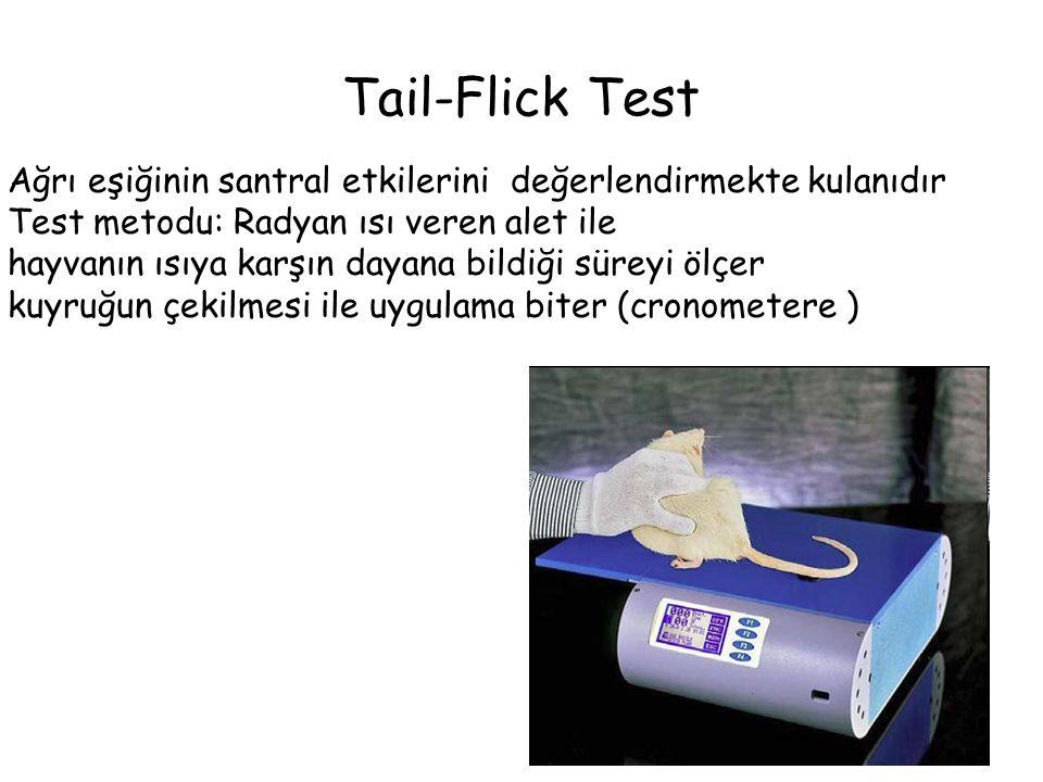 Tail-Flick Test Ağrı eşiğinin santral etkilerini değerlendirmekte kulanıdır Test metodu: Radyan ısı veren alet ile hayvanın ısıya karşın dayana bildiğ