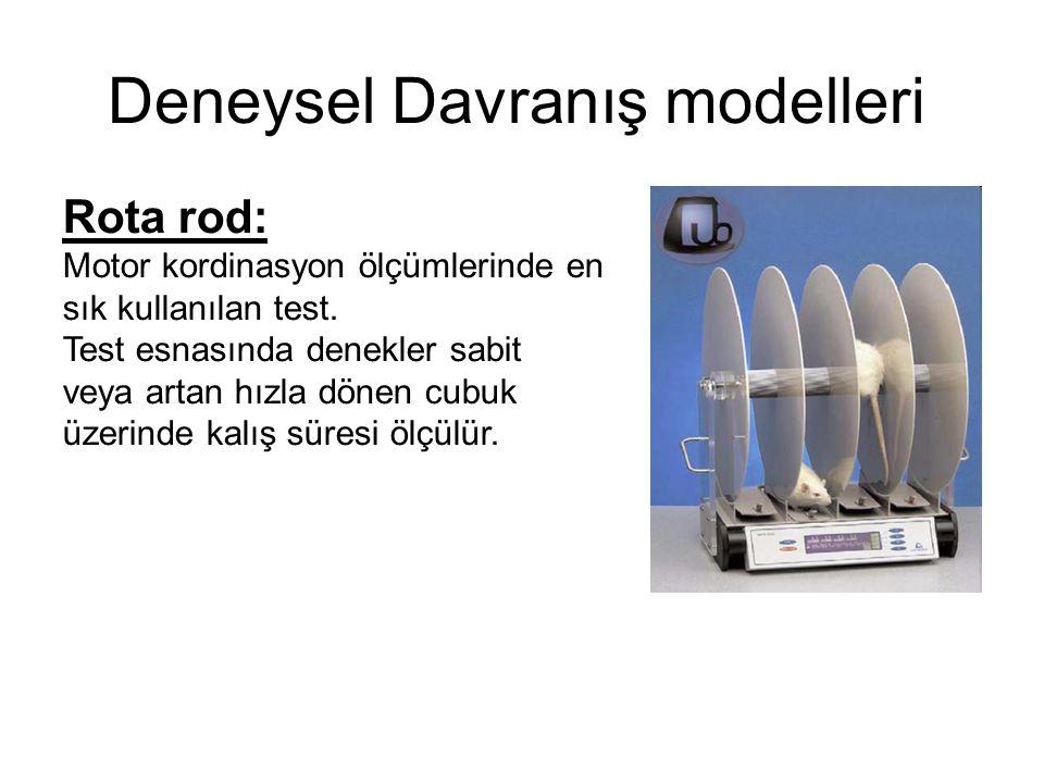 Deneysel Davranış modelleri Rota rod: Motor kordinasyon ölçümlerinde en sık kullanılan test. Test esnasında denekler sabit veya artan hızla dönen cubu