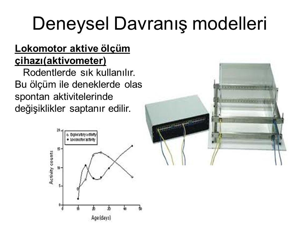 Lokomotor aktive ölçüm çihazı(aktivometer) Rodentlerde sık kullanılır. Bu ölçüm ile deneklerde olası spontan aktivitelerinde değişiklikler saptanır ed