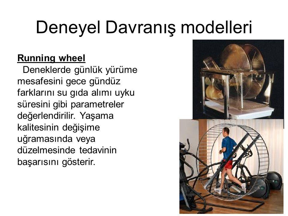 Deneyel Davranış modelleri Running wheel Deneklerde günlük yürüme mesafesini gece gündüz farklarını su gıda alımı uyku süresini gibi parametreler değe