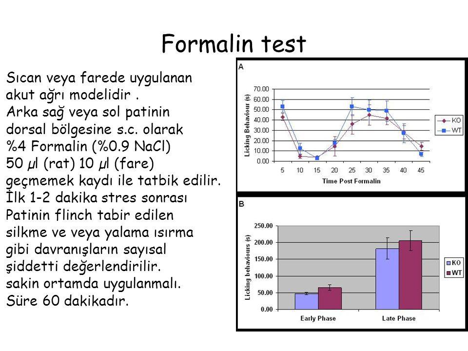 Tail-Flick Test Ağrı eşiğinin santral etkilerini değerlendirmekte kulanıdır Test metodu: Radyan ısı veren alet ile hayvanın ısıya karşın dayana bildiği süreyi ölçer kuyruğun çekilmesi ile uygulama biter (cronometere )