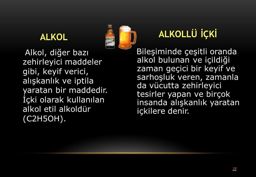 25 ALKOL Alkol, diğer bazı zehirleyici maddeler gibi, keyif verici, alışkanlık ve iptila yaratan bir maddedir.