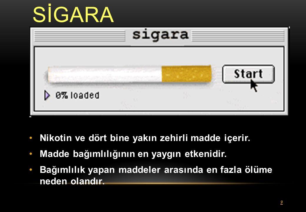SİGARA 9 Nikotin ve dört bine yakın zehirli madde içerir.