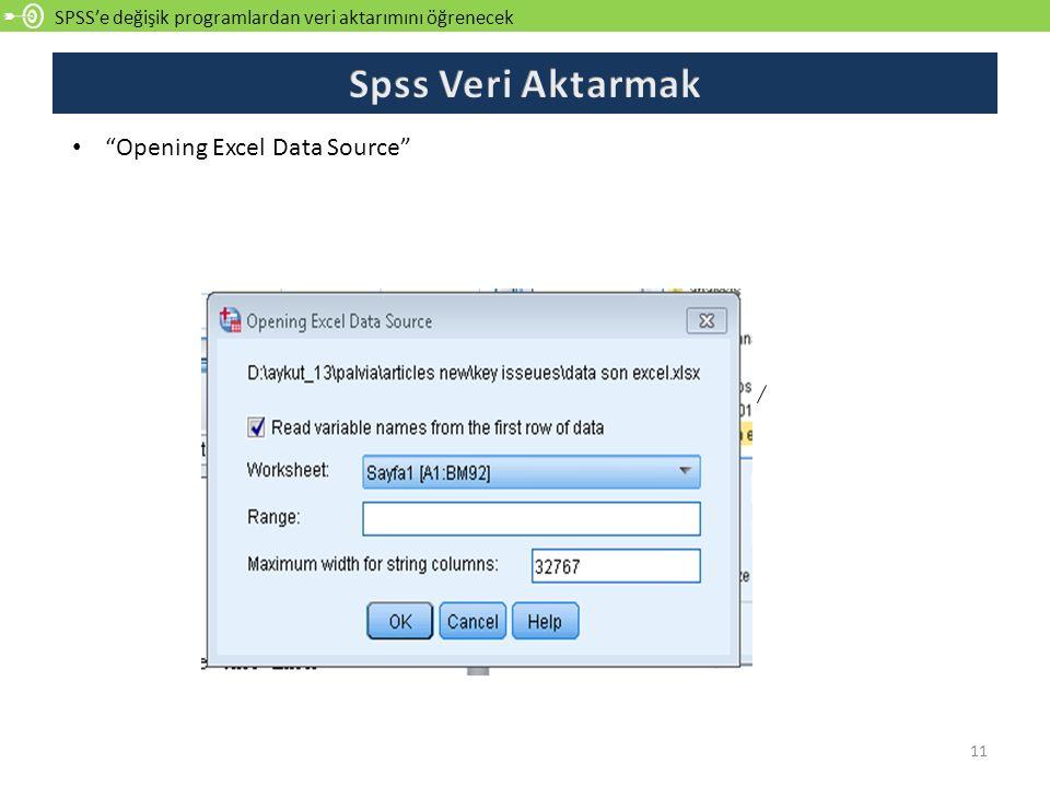 """SPSS'e değişik programlardan veri aktarımını öğrenecek 11 """"Opening Excel Data Source"""""""