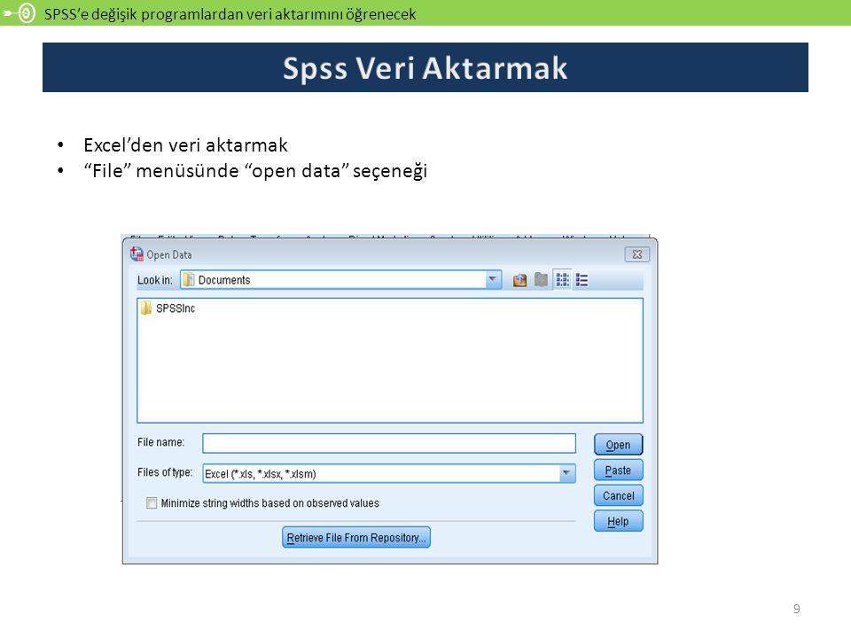 """SPSS'e değişik programlardan veri aktarımını öğrenecek 9 Excel'den veri aktarmak """"File"""" menüsünde """"open data"""" seçeneği"""