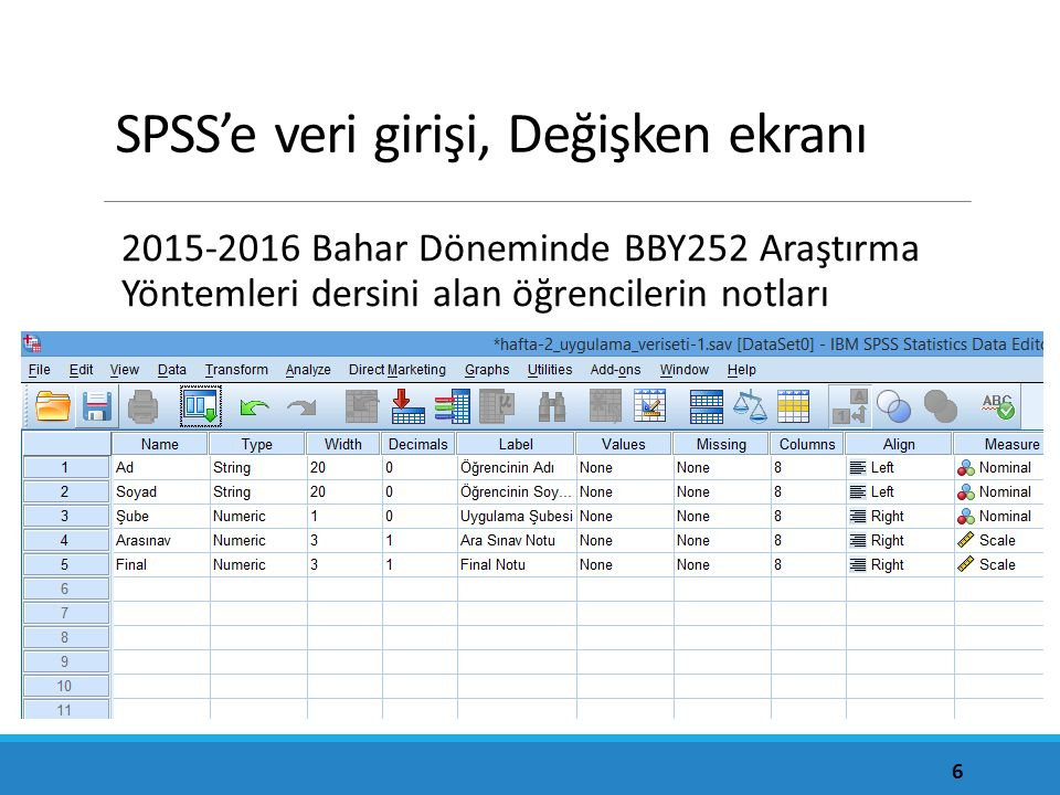 SPSS'e veri girişi, Değişken ekranı 2015-2016 Bahar Döneminde BBY252 Araştırma Yöntemleri dersini alan öğrencilerin notları 6