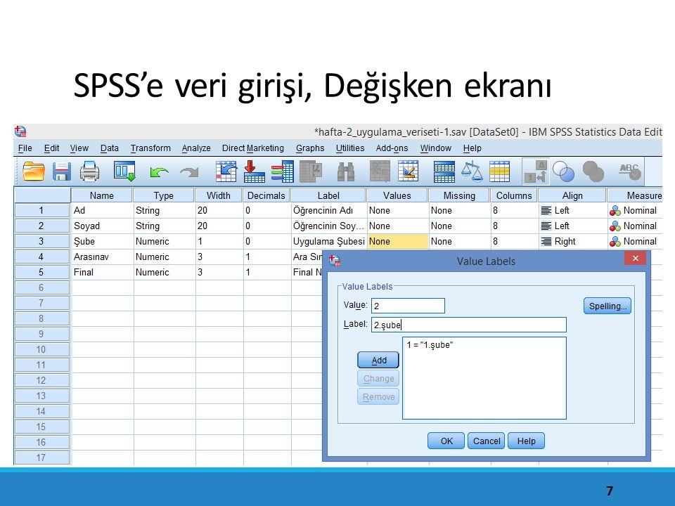 SPSS'e veri girişi, Değişken ekranı 7