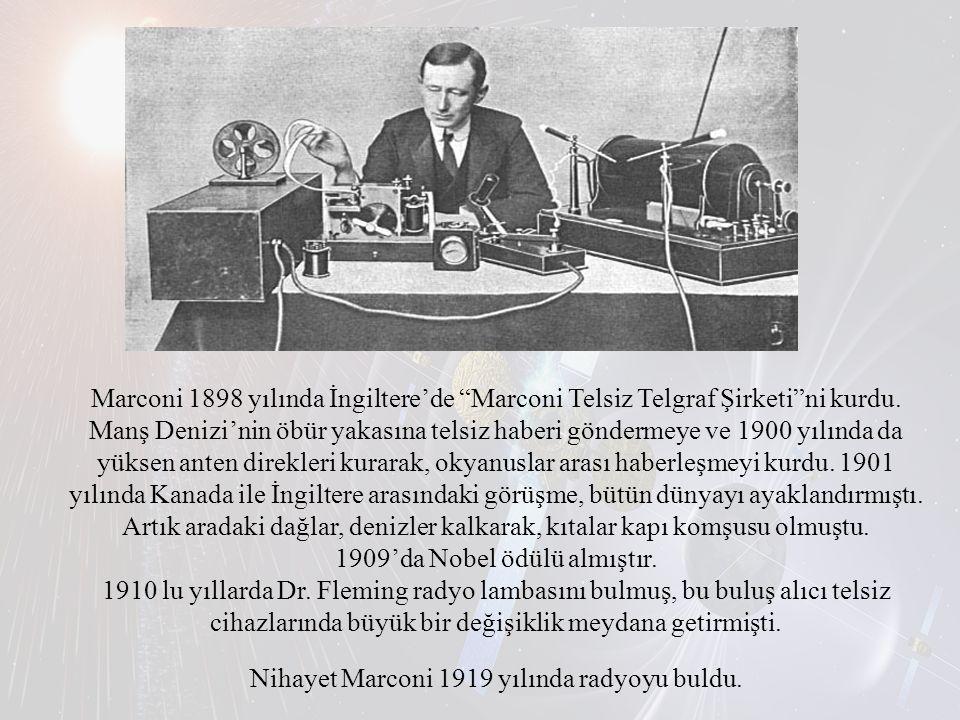 """Marconi 1898 yılında İngiltere'de """"Marconi Telsiz Telgraf Şirketi""""ni kurdu. Manş Denizi'nin öbür yakasına telsiz haberi göndermeye ve 1900 yılında da"""