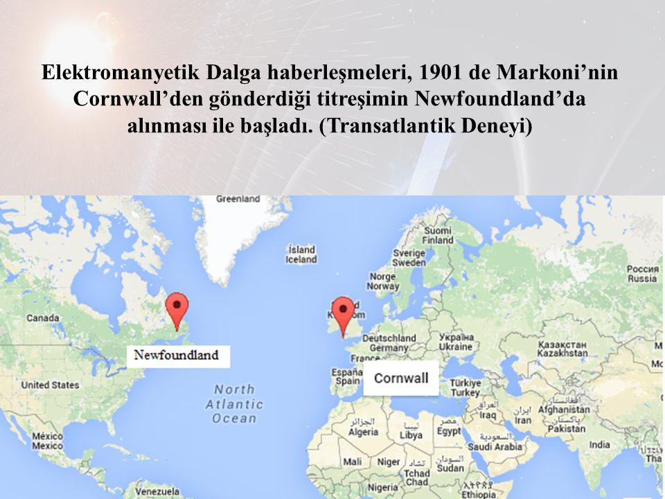 Elektromanyetik Dalga haberleşmeleri, 1901 de Markoni'nin Cornwall'den gönderdiği titreşimin Newfoundland'da alınması ile başladı. (Transatlantik Dene