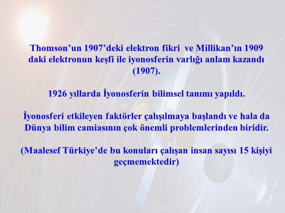 Thomson'un 1907'deki elektron fikri ve Millikan'ın 1909 daki elektronun keşfi ile iyonosferin varlığı anlam kazandı (1907). 1926 yıllarda İyonosferin