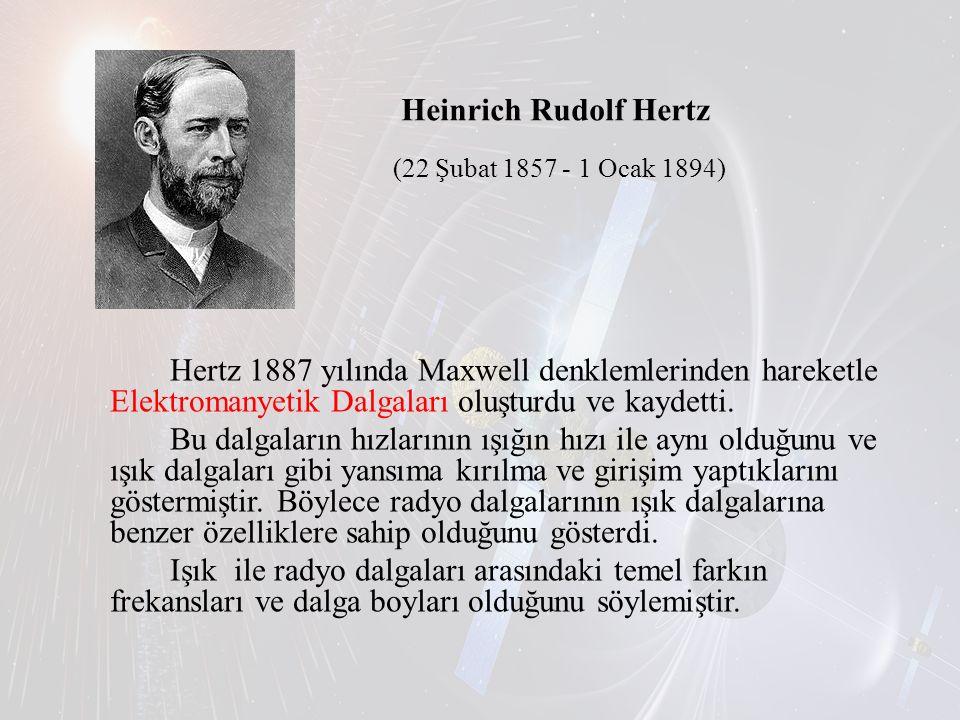 Heinrich Rudolf Hertz (22 Şubat 1857 - 1 Ocak 1894) Hertz 1887 yılında Maxwell denklemlerinden hareketle Elektromanyetik Dalgaları oluşturdu ve kaydet