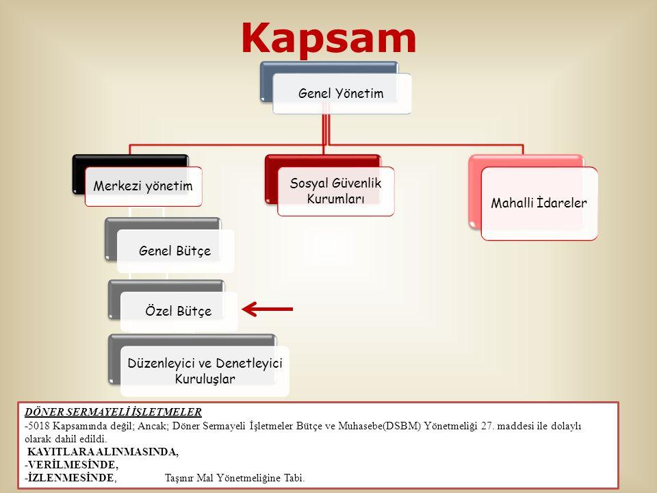 Kapsam Genel Yönetim Merkezi yönetim Genel Bütçe Özel Bütçe Düzenleyici ve Denetleyici Kuruluşlar Sosyal Güvenlik Kurumları Mahalli İdareler DÖNER SER