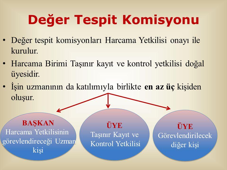 Değer Tespit Komisyonu Değer tespit komisyonları Harcama Yetkilisi onayı ile kurulur. Harcama Birimi Taşınır kayıt ve kontrol yetkilisi doğal üyesidir