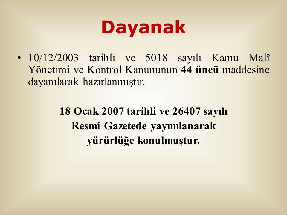 Dayanak 10/12/2003 tarihli ve 5018 sayılı Kamu Malî Yönetimi ve Kontrol Kanununun 44 üncü maddesine dayanılarak hazırlanmıştır. 18 Ocak 2007 tarihli v