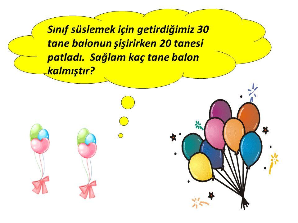 Sınıf süslemek için getirdiğimiz 30 tane balonun şişirirken 20 tanesi patladı. Sağlam kaç tane balon kalmıştır?