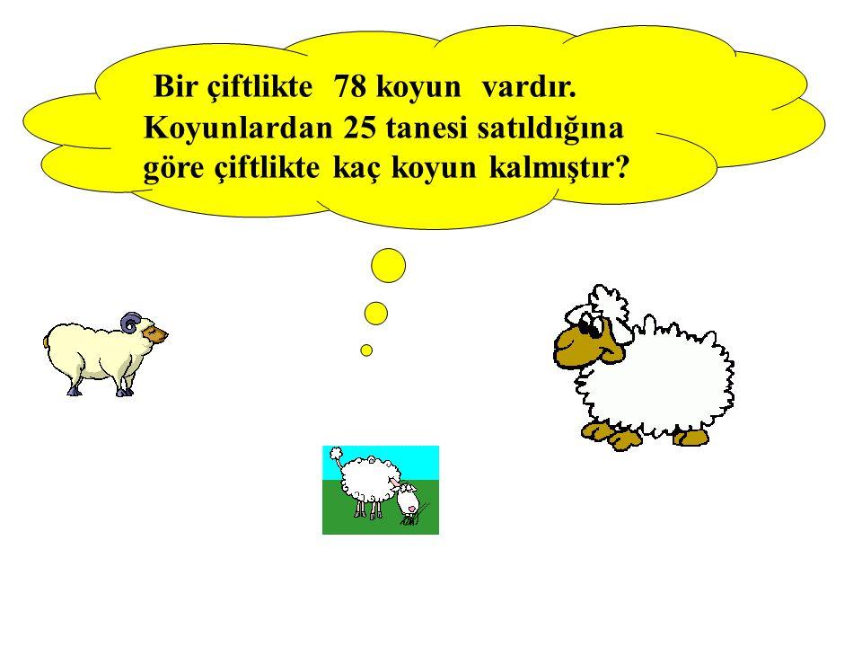 Bir çiftlikte 78 koyun vardır. Koyunlardan 25 tanesi satıldığına göre çiftlikte kaç koyun kalmıştır?