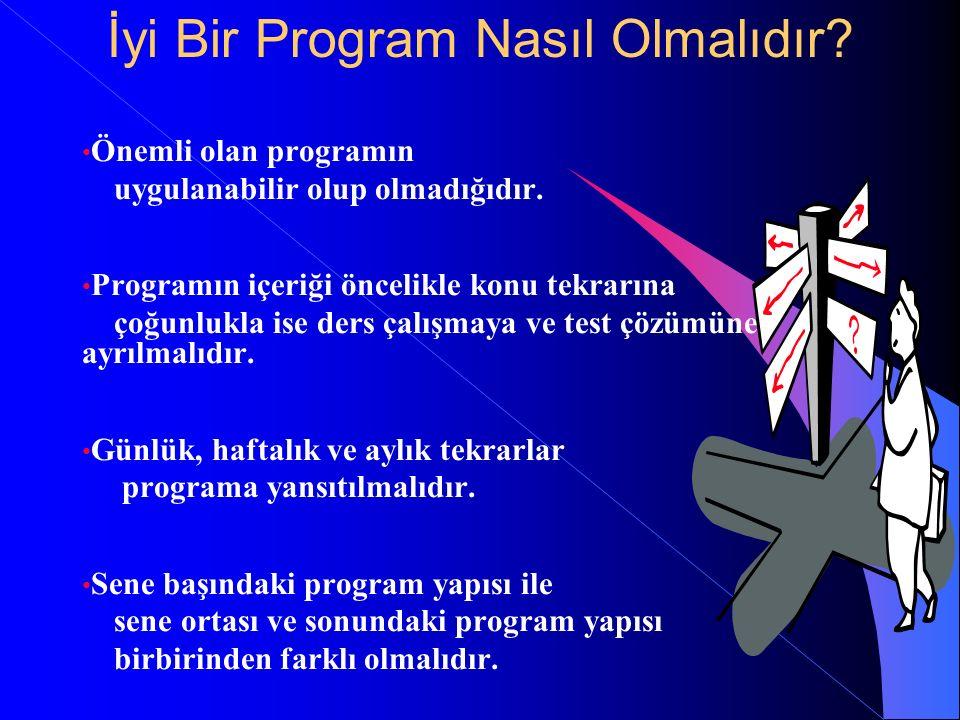 İyi Bir Program Nasıl Olmalıdır? Önemli olan programın uygulanabilir olup olmadığıdır. Programın içeriği öncelikle konu tekrarına çoğunlukla ise ders