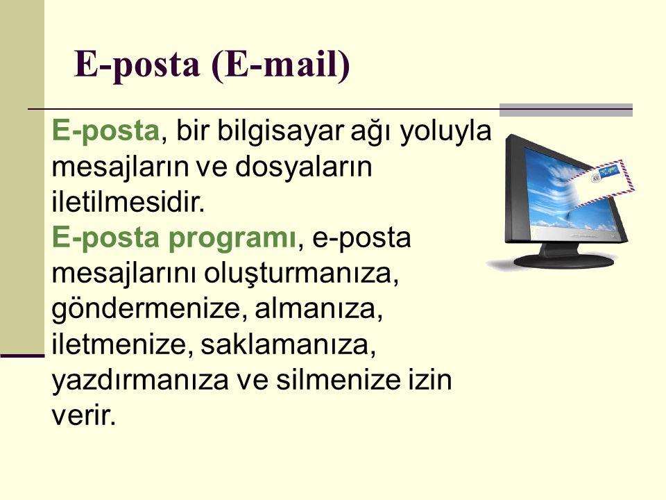 E-posta adresleri, aşağıdaki gibidir: İnternet adreslerinde olduğu gibi elektronik posta adresleri yazılırken küçük harfler kullanılır ve Türkçeye özgü harfler kullanılmaz (ç,ğ,ı,ö,ş,ü).
