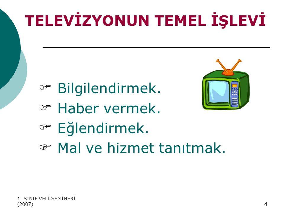 1. SINIF VELİ SEMİNERİ (2007)4 TELEVİZYONUN TEMEL İŞLEVİ  Bilgilendirmek.  Haber vermek.  Eğlendirmek.  Mal ve hizmet tanıtmak.