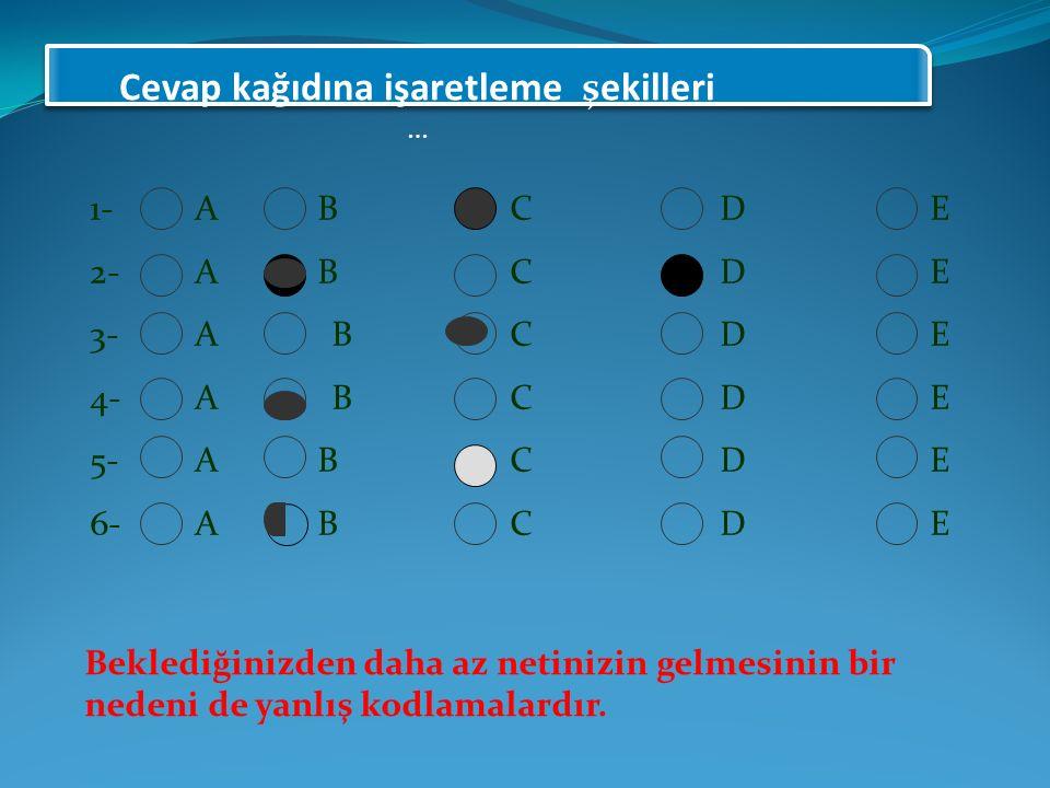 1-A BCDE 2-A BCDE 3-A BCDE 4-A BCDE 5-A BCDE 6-A BCDE Beklediğinizden daha az netinizin gelmesinin bir nedeni de yanlış kodlamalardır.