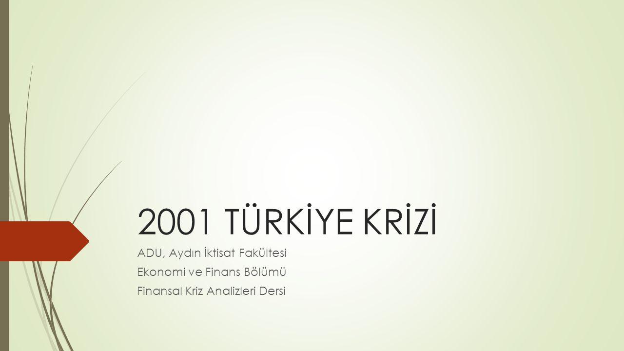 2001 TÜRKİYE KRİZİ ADU, Aydın İktisat Fakültesi Ekonomi ve Finans Bölümü Finansal Kriz Analizleri Dersi