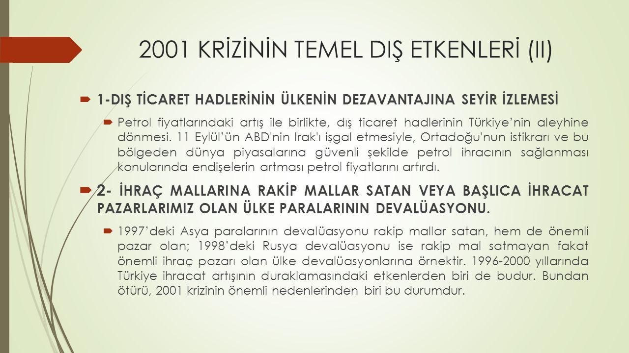 2001 KRİZİNİN TEMEL DIŞ ETKENLERİ (IV)  3-Türkiye'nin başlıca ihraç pazarı olan gelişmiş ülkelerde konjonktürel durgunluk ve politika gereği ayırımcılık.