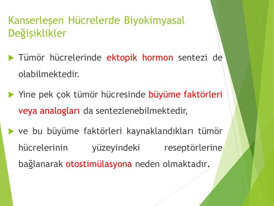  Tümör hücrelerinde ektopik hormon sentezi de olabilmektedir.  Yine pek çok tümör hücresinde büyüme faktörleri veya analogları da sentezlenebilmekte