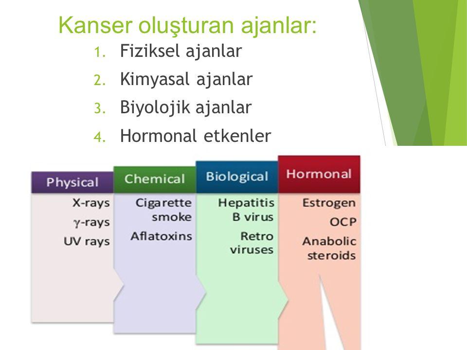 Kanser oluşturan ajanlar: 1. Fiziksel ajanlar 2. Kimyasal ajanlar 3. Biyolojik ajanlar 4. Hormonal etkenler