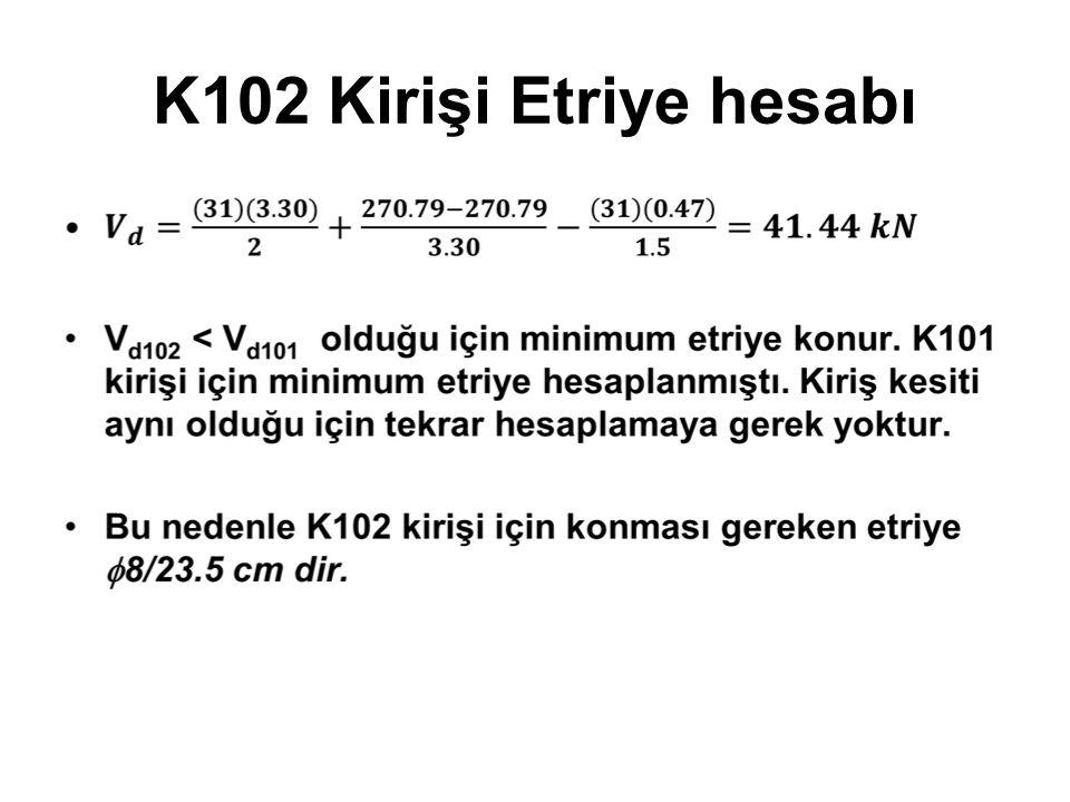 K102 Kirişi Etriye hesabı