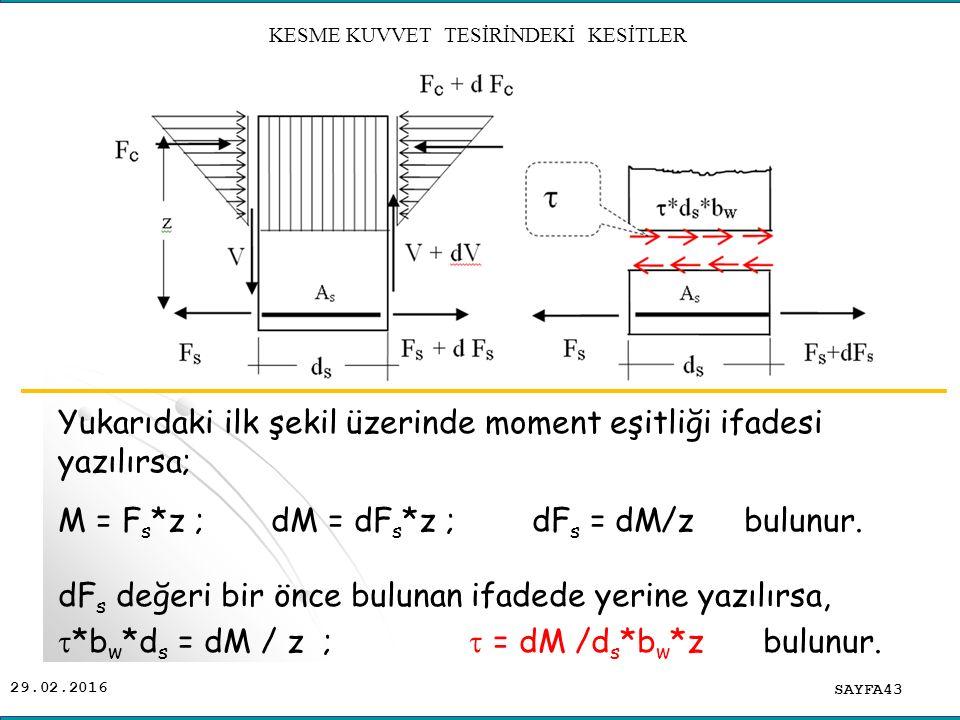 29.02.2016 Yukarıdaki ilk şekil üzerinde moment eşitliği ifadesi yazılırsa; M = F s *z ; dM = dF s *z ; dF s = dM/z bulunur. dF s değeri bir önce bulu