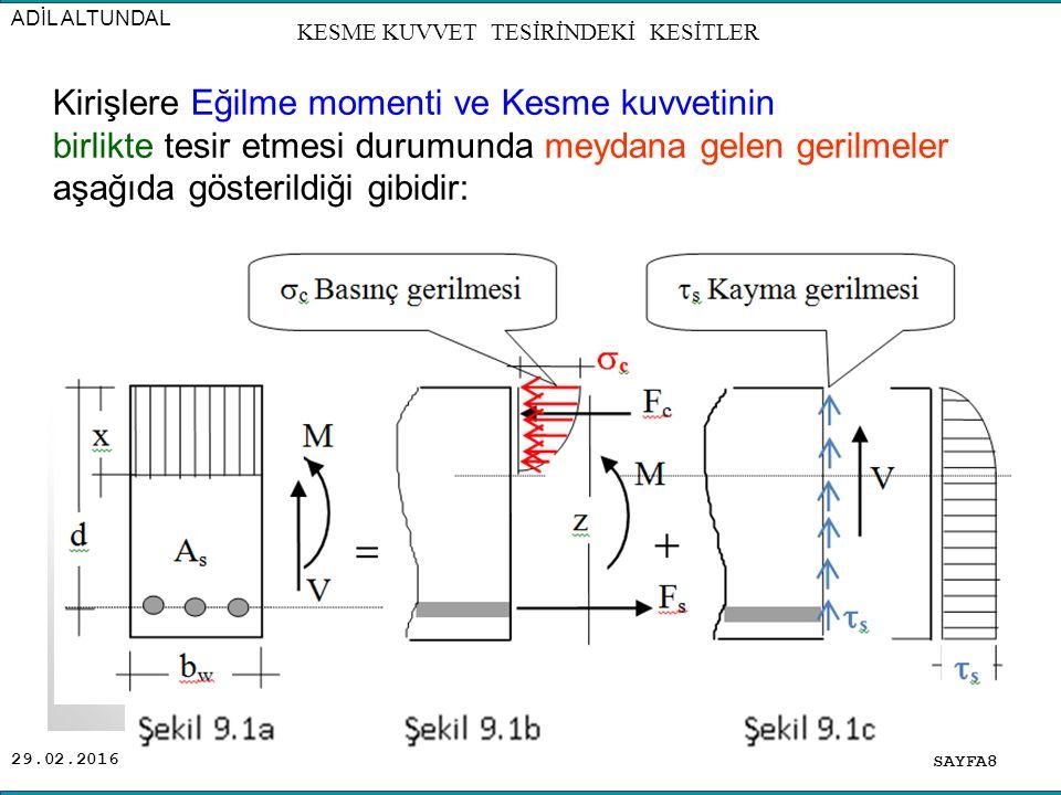29.02.2016 BS 14BS 16BS 20BS 25 (  min ) (  max ) f ctk 4.5 13 4.7 14 5 16 5.5 20 18 SAYFA39 KESME KUVVET TESİRİNDEKİ KESİTLER Kayma Gerilmesi Değerleri (1985 TS 500)( kg/cm 2 ) Kayma Gerilmesi Hesabı: Betonarme bir kirişe tesir eden (V) kesme kuvvetinden dolayı meydana gelen (  ) kayma gerilmelerinin hesabı: