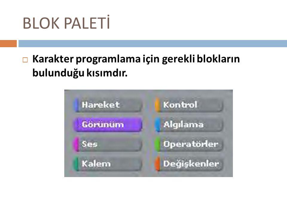 BLOK PALETİ KKarakter programlama için gerekli blokların bulunduğu kısımdır.