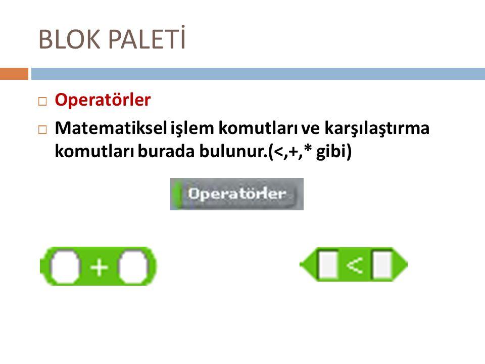 BLOK PALETİ OOperatörler MMatematiksel işlem komutları ve karşılaştırma komutları burada bulunur.(<,+,* gibi)