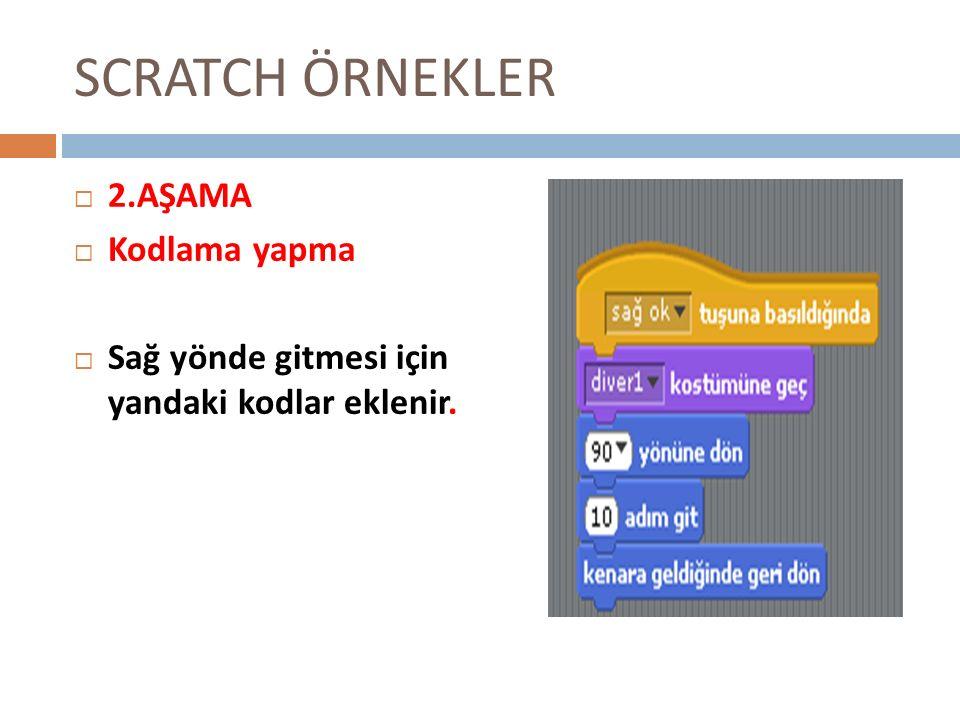 SCRATCH ÖRNEKLER 22.AŞAMA KKodlama yapma SSağ yönde gitmesi için yandaki kodlar eklenir.