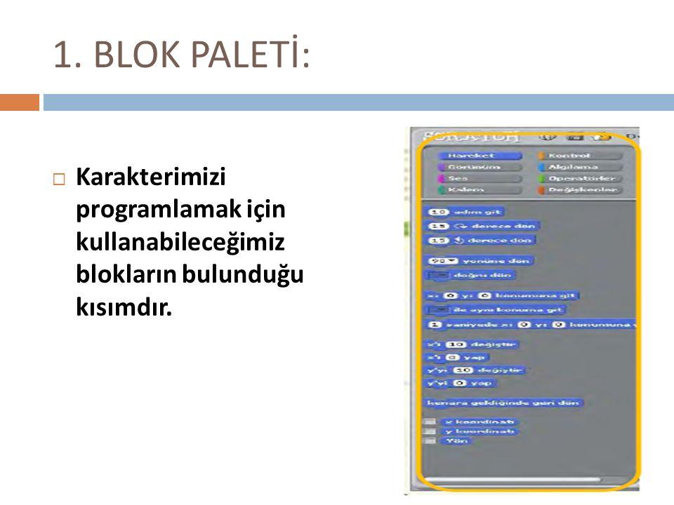 1. BLOK PALETİ: KKarakterimizi programlamak için kullanabileceğimiz blokların bulunduğu kısımdır.