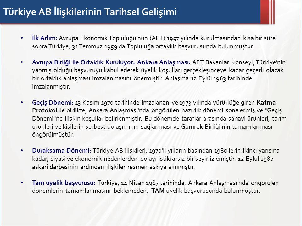 Türkiye AB İlişkilerinin Tarihsel Gelişimi İlk Adım: Avrupa Ekonomik Topluluğu nun (AET) 1957 yılında kurulmasından kısa bir süre sonra Türkiye, 31 Temmuz 1959 da Topluluğa ortaklık başvurusunda bulunmuştur.
