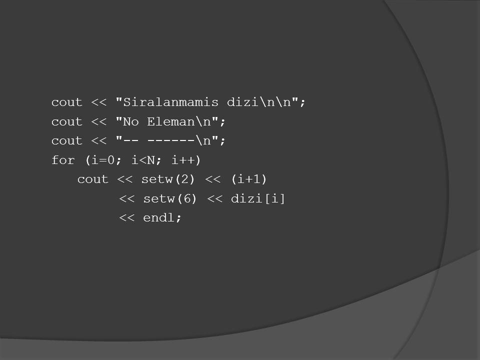 cout << Siralanmamis dizi\n\n ; cout << No Eleman\n ; cout << -- ------\n ; for (i=0; i<N; i++) cout << setw(2) << (i+1) << setw(6) << dizi[i] << endl;