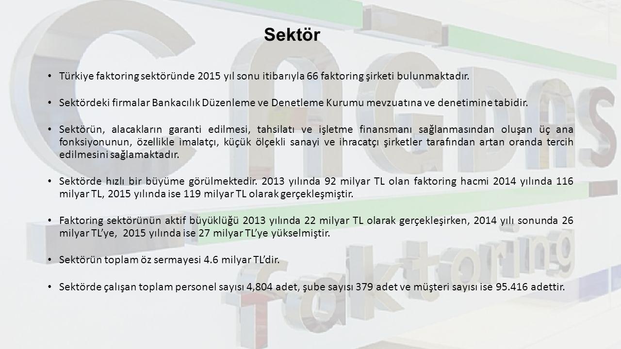 Sektör Türkiye faktoring sektöründe 2015 yıl sonu itibarıyla 66 faktoring şirketi bulunmaktadır. Sektördeki firmalar Bankacılık Düzenleme ve Denetleme