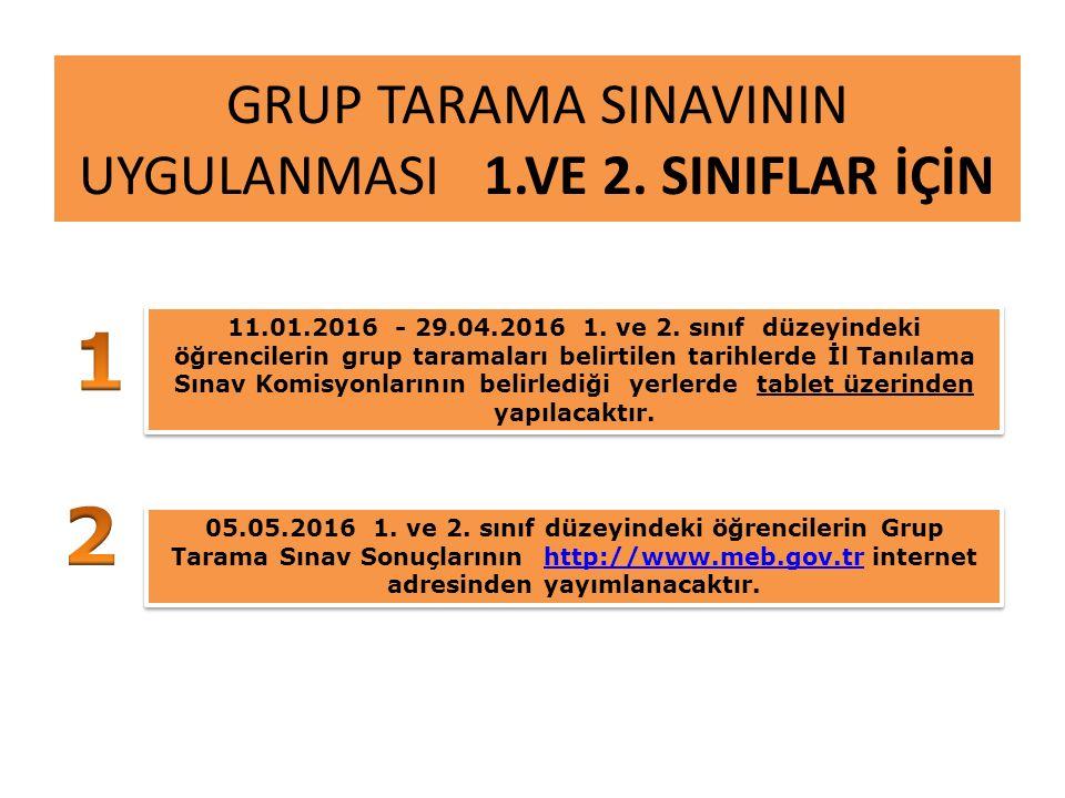 GRUP TARAMA SINAVININ UYGULANMASI 1.VE 2. SINIFLAR İÇİN 11.01.2016 - 29.04.2016 1.