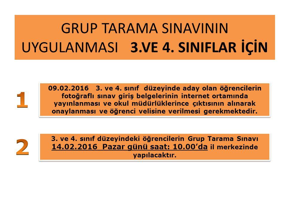 GRUP TARAMA SINAVININ UYGULANMASI 3.VE 4. SINIFLAR İÇİN 09.02.2016 3.